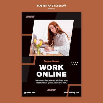 Modello di poster di lavoro da casa