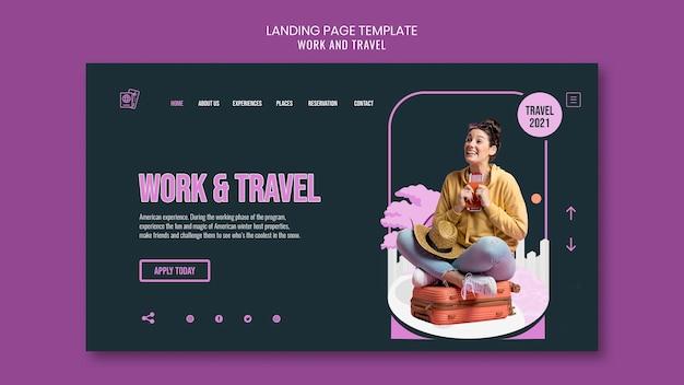 Modello di pagina di destinazione di viaggio e lavoro