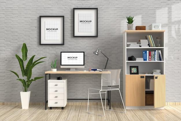 Area di lavoro all'interno di casa con computer e mockup di frame