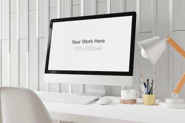 Area di lavoro con schermo mockup del computer portatile nel rendering 3d Psd Premium