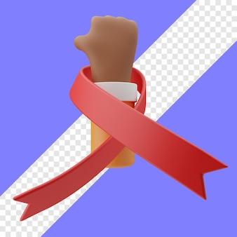 Illustrazione 3d del gesto della mano della giornata mondiale contro l'aids in uno sfondo trasparente