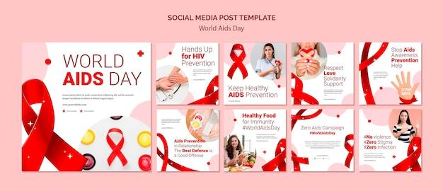 Post sui social media per la giornata mondiale contro l'aids