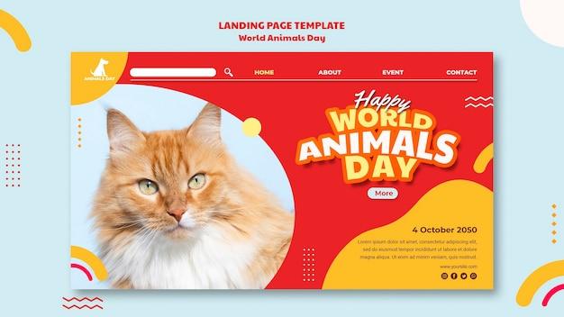 Modello di pagina di destinazione della giornata mondiale degli animali