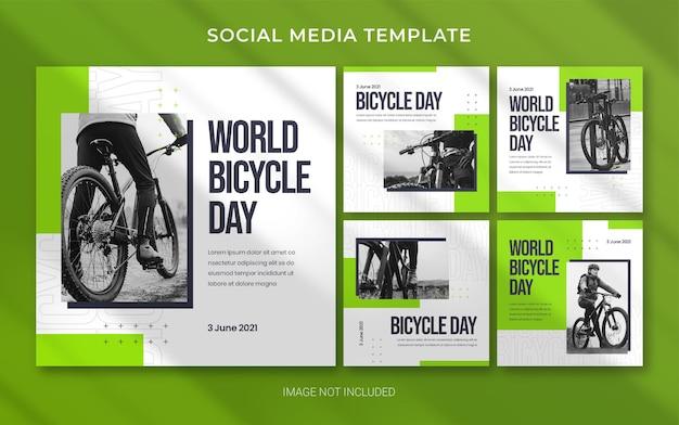 Modello di banner post sui social media per la giornata mondiale della bicicletta