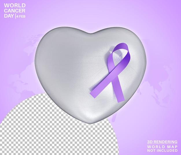 Simbolo di giornata mondiale del cancro sul cuore rendering 3d di amore isolato