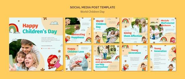 Modello di post sui social media per la giornata mondiale dei bambini