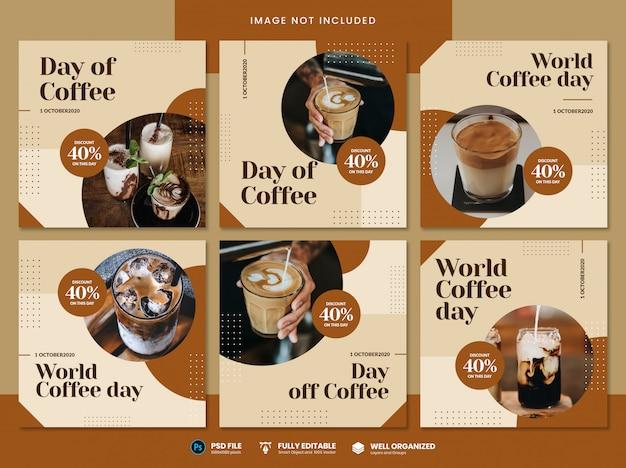Modello di social media per la giornata mondiale del caffè