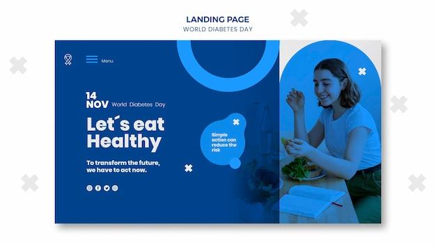 Modello di pagina di destinazione per la giornata mondiale del diabete