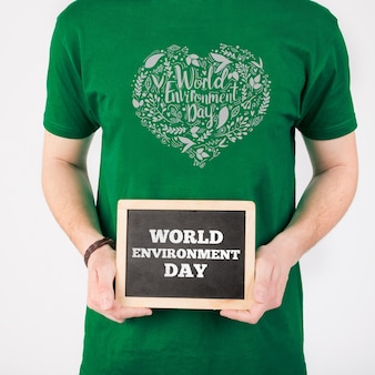 Mockup di giornata mondiale ambiente ardesia Psd Premium