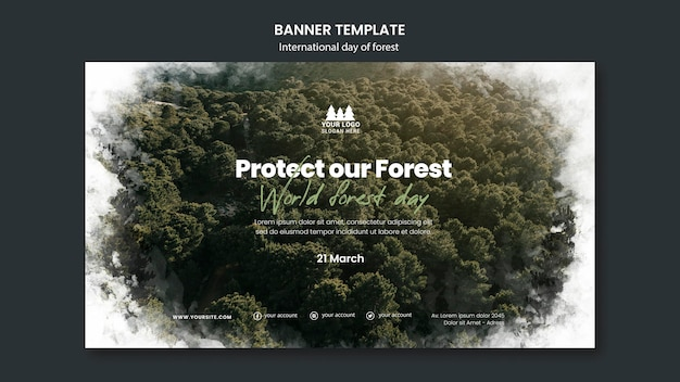 Modello di banner giornata mondiale della foresta