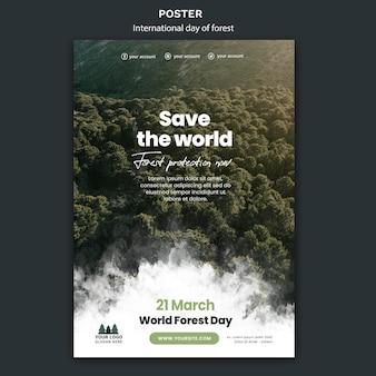 Modello di poster giornata mondiale della foresta