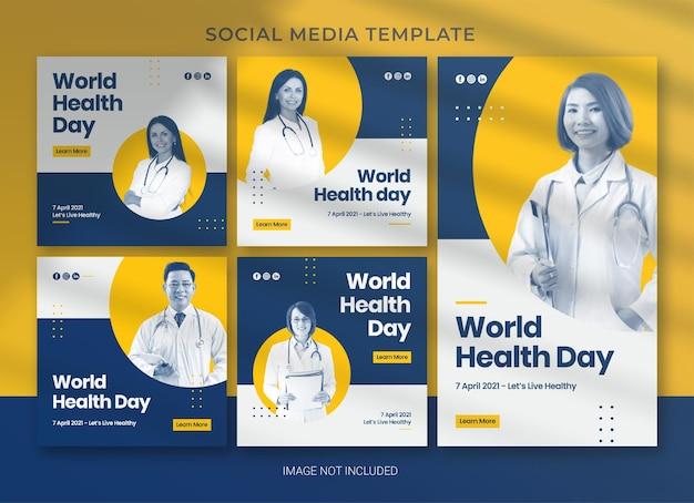 Modello di social media per la giornata mondiale della salute