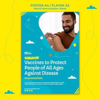 Modello di volantino della settimana dell'immunizzazione mondiale