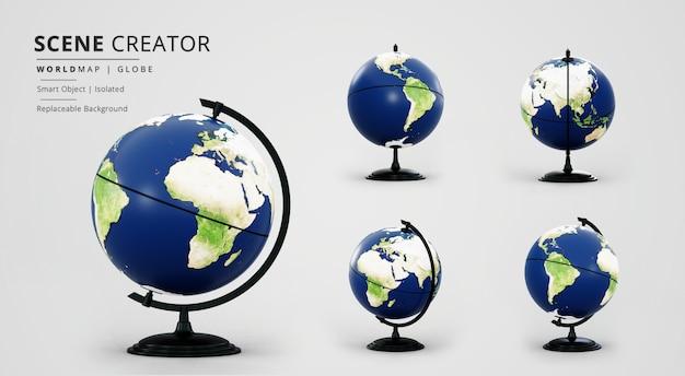 Globo mappa del mondo con creatore di scene di supporto nero