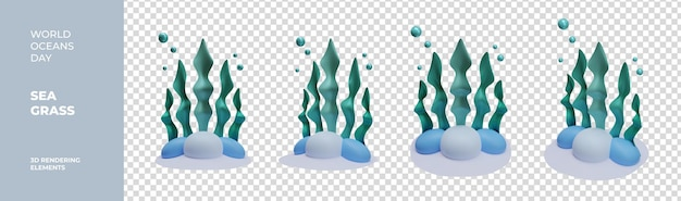 Elementi di rendering 3d di erba di mare giornata mondiale dell'oceano