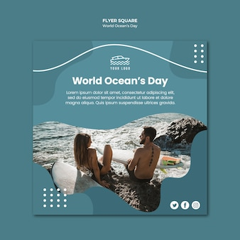 Modello di volantino quadrato giorno dell'oceano del mondo