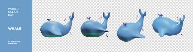 Elementi di rendering 3d balena giornata mondiale degli oceani