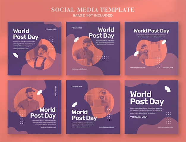 Banner per i social media della giornata mondiale della posta e templ post di instagram
