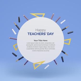Design del post per la giornata mondiale degli insegnanti con cerchio di forma rotonda per il tuo testo