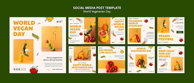 Set di post instagram per la giornata mondiale vegetariana