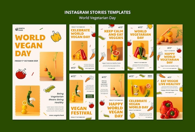 Set di storie instagram per la giornata mondiale vegetariana