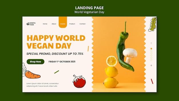 Modello di pagina di destinazione della giornata mondiale vegetariana