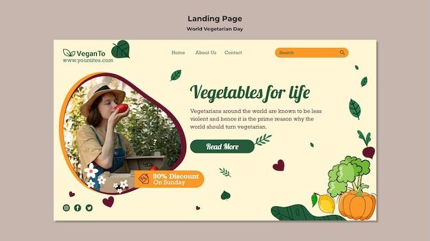 Modello di pagina di destinazione della giornata mondiale vegetariana Psd Premium