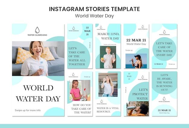 Modello di storie di instagram di concetto di giornata mondiale dell'acqua