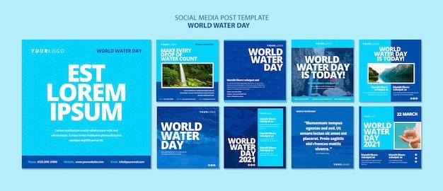Modello di post instagram per la giornata mondiale dell'acqua