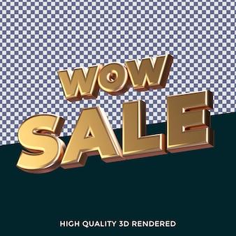 Wow sale 3d ha reso lo stile di testo isolato con una trama metallica dorata realistica