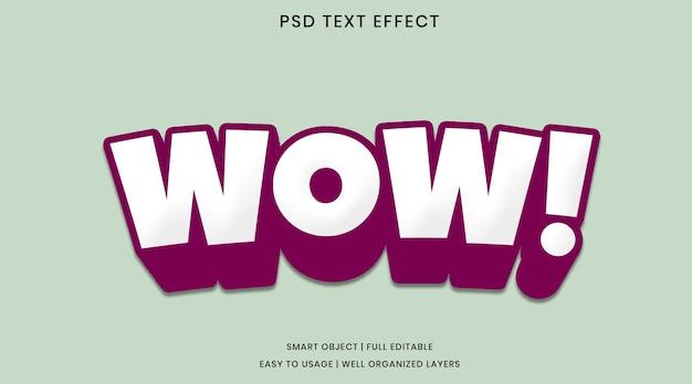 Wow modello psd effetto testo