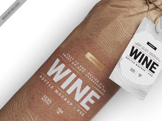 Modello di mockup di bottiglia di vino avvolto