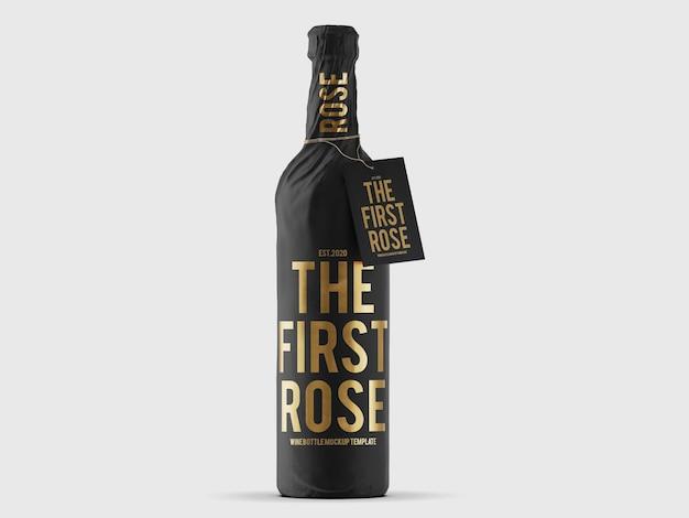 Mockup di bottiglia di vino avvolto