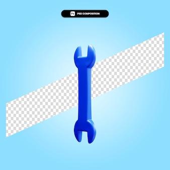 Illustrazione di rendering 3d della chiave inglese isolata