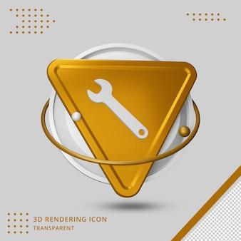 Icona della chiave inglese nel rendering 3d isolato