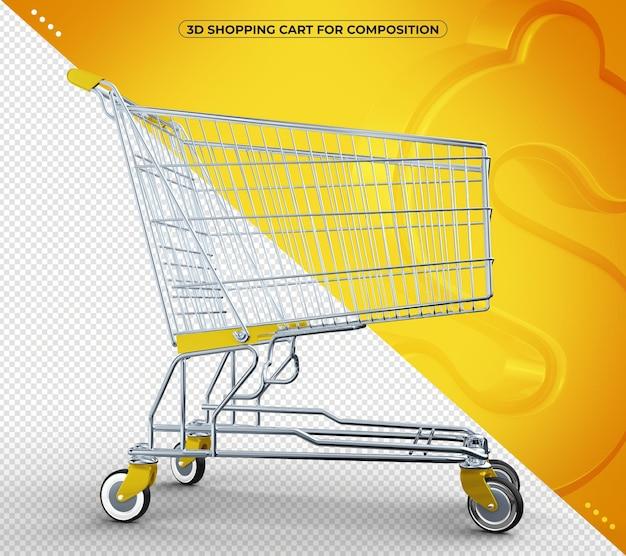 Rendering giallo del carrello del supermercato 3d