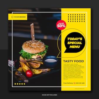 Banner ristorante giallo giallo e menu social media sociali