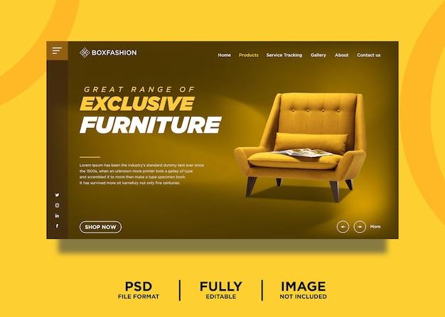 Modello di pagina di destinazione del prodotto di arredamento esclusivo di colore giallo