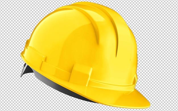 Casco giallo della costruzione del cappello duro isolato