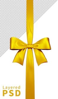 Fiocco di nastro regalo di raso giallo isolato