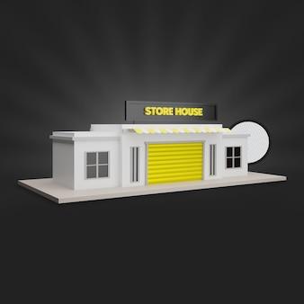 Rendering 3d della casa del negozio giallo