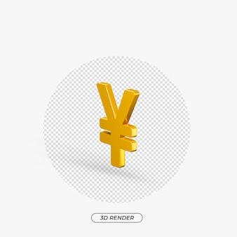 Rendering 3d di yen oro icona