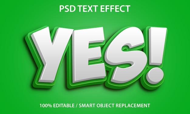 Sì effetto del testo