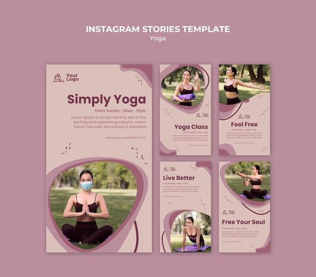 Modello di storie di instagram di classe di yoga
