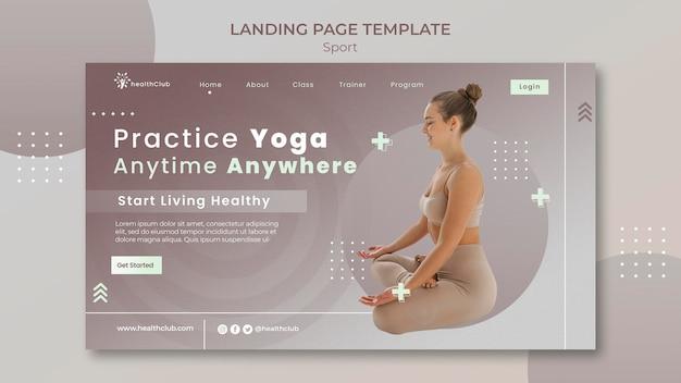 Modello di pagina di destinazione degli esercizi di yoga