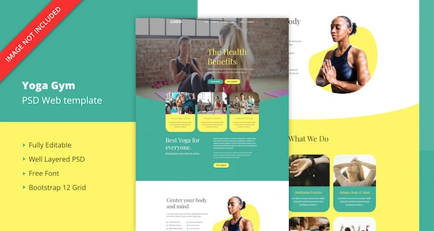 Modello di sito web palestra yoga