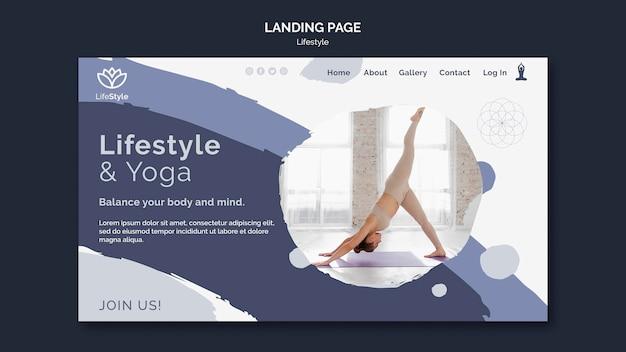 Modello di progettazione della pagina di destinazione dello stile di vita yoga