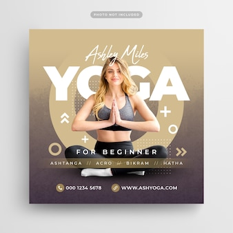 Meditazione yoga per principianti social media post e modello di banner web