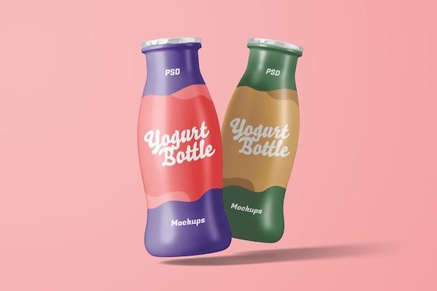 Mockup di confezione di bottiglie di yogurt