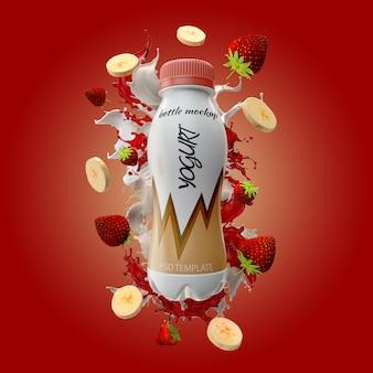 Bottiglia di yogurt con banana splash di latte e mockup di fragole